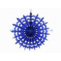 Wholesale Artificial 12 Inch Blue , Turquoise Paper Fans Decorations For Restaurant from china suppliers