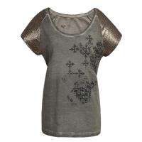 China Grey Casual Ladies Clothing / lady's t shirt With Sequins and Embroidery on sale