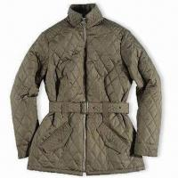 Wholesale 100% Polyester Ladies' Quilted Jacket, Available Black, Brown, Navy, and Olive Colors from china suppliers