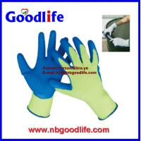 Wholesale High visibility nylon blue latex crinkle coated latex gloves from china suppliers