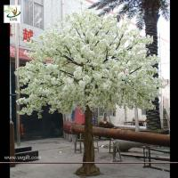 Wholesale UVG wedding stage decoration use indoor white artificial cherry blossom trees for sale CHR011 from china suppliers