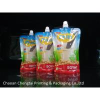 Soymilk Packaging Food Grade Plastic Stand Up Spouted Pouches With Window