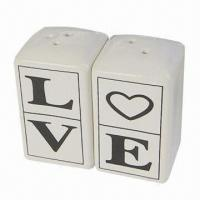 Wholesale Ceramic Love Salt and Pepper Shaker in Gift Packing with Ribbon and Thanking Card from china suppliers