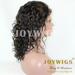 China fashionable brazilian human hair kinky curly full silk cap lace wig on sale