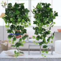 Wholesale UVG interior decoration 1 meter green hanging faux ivy with plastic vine leaves for sale CHP01 from china suppliers