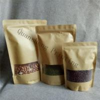 Wholesale Moisture Proof Stand Up Zipper Kraft Paper Bags With Window For Tea / Coffee bean / Dried fruits from china suppliers