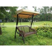 Wholesale BM3001-1 PE rattan two-seaters swing with canopy outdoor furniture rattan bed from china suppliers