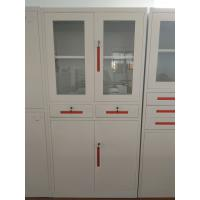 Quality Glaass and steel door steel cupboard for storage document,Knocked down structure,white color for sale