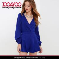 Wholesale 2016 Spring / Summer Jumpsuit for Women V-neck Royal Blue Long Sleeve Romper from china suppliers