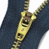 Buy cheap Metal Zipper with Slider, Customized Lengths, Puller Designs and Logos are Accepted from wholesalers