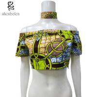 Wholesale Off Shoulder African Print Crop Tops With Choker 100 Percentage Cotton Printed from china suppliers