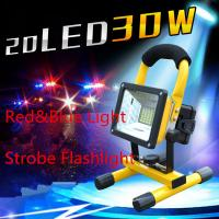 Wholesale 30W High Power 24 LED White+Red+Blue Emergency Portable Spotlight for Hunting,Searching Rechargeable Lamp from china suppliers