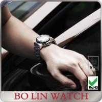 Quality Leather strap chronograph quartz Stainless Steel Sports Watch steel crown for sale