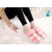 Wholesale Round Toe Comfortable House Slippers For Women Cotton Fabric Lattice Pattern Upper from china suppliers