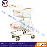 Wholesale Double Layer Metal Shopping Trolley , Supermarket Four Wheeled Shopping Cart from china suppliers