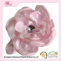 Wholesale 5.5cm White Handmade Rhinestone Satin Fabric Flowers , craft fabric flowers fashion design from china suppliers