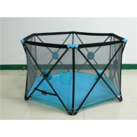 Wholesale Durable Fold Outdoor Baby Safety Fence With Double Lock , Blue from china suppliers