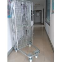 Quality 2 Way / 4 Way Enter Metal Storage Cages Roll Container Silver Colored for sale
