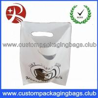 Wholesale LDPE 60 MicronsWhite Color Die Cut Handle Plastic Bags With OEM Custom Logo Printing from china suppliers