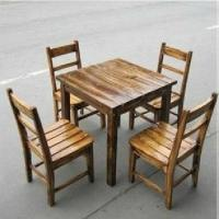 Wholesale sell outdoor table and chair from carbonize pine from china suppliers
