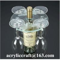 Wholesale Personalized Engraved Transparent Round Acrylic Four Wine Glass Holder from china suppliers
