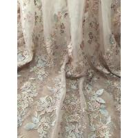 China 36 Inch Pearl Beaded Embroidery Lace Fabric By Yard For Haute Couture Wedding Gown on sale