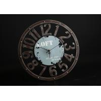 "Wholesale Round Rust 15""x15"" Decorative Wall Clocks In Blue Background With Big Numbers from china suppliers"