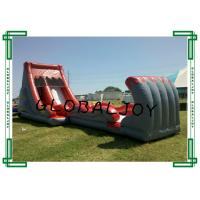 Wholesale CE Inflatable Red Water Slide , Children Inflatable Wet Slide With Pool from china suppliers