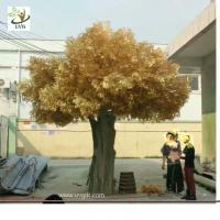 Wholesale UVG 18ft tall golden color silk leaves artificial big banyan tree for indoor family decoration GRE058 from china suppliers