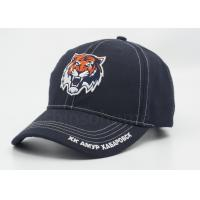 Wholesale Dark Blue 3D Embroidered Cotton Baseball Caps With Bronze Metal Buckle Closure from china suppliers