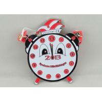 Wholesale Red Clock Pewter Carnival Medal , 65mm Nickel Plating With Ribbon For Children from china suppliers