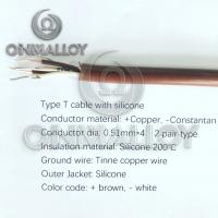 Wholesale Type T  thermocouple cable silicone  200 degree insulated  wire 0.51mmx4 from china suppliers