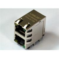 Wholesale 2x1 Port Stacked RJ 45 Modular Connector , LPJE106XAGNL 8P8C Shielded w/LED from china suppliers