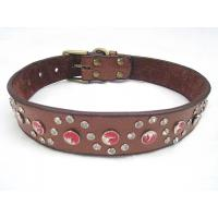 Wholesale Genuine leather dog collar with big discount black brown 30pcs/lot from china suppliers