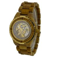 Wholesale Brown Color Automatic Phoebe Wooden Watch , Harden Glass Waterproof Wood Watch from china suppliers