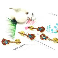 Buy cheap Delicate Guitar Shaped Hard Enamel Laple Pins With Gold Plating from wholesalers