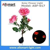 Wholesale 3LED Pink Solar Powered Rose Flower Light Outdoor Lamp Stake for Home Garden Yard Lawn Pathway Party Decor Landscape from china suppliers