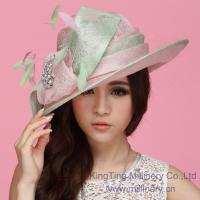 China Green / Pink Sinamay Ladies Hats Sinamay Feather Trim For Church / Wedding on sale