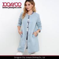 Wholesale Ladies Collarless Long Sleeve Light Blue Wool Long Winter Coat from china suppliers
