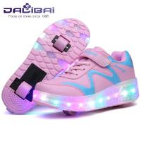 Wholesale Seven Color Changing LED Light Up Sneaker Shoes with Two Wheels from china suppliers