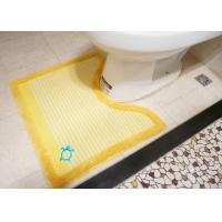 Wholesale Yellow Stripe anti slip Toilet Floor Mat with Embroidery 65% Cotton + 35% Polyester from china suppliers