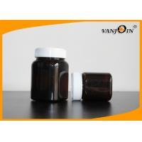 Wholesale 350g Amber Square Plastic Jar With Screw Cap , Medicine Package Bottle from china suppliers