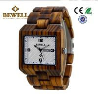 Quality Customize Logo Natural Wooden Wrist Watch / Zebra Wooden Hand Watches For Men for sale