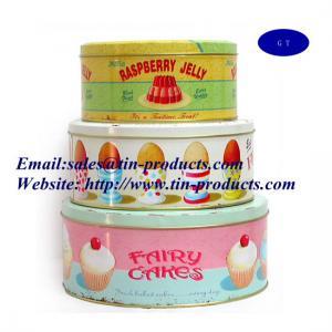Wholesale Fresh 3-Piece Set Round Cake Tin Box, Round Shape Metal Cake Boxes/ Tin Cake Box, Gift Set from china suppliers