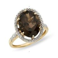 Wholesale 14K Yellow Gold  Smokey Quartz and Diamond Ring from china suppliers