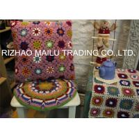 Wholesale Daisy Colorful Flower Hand Crochet Cushion Cover For Home Use , Pink from china suppliers