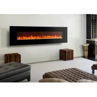 """Wholesale led flame 95"""" wall mounted electric  fireplace modern flat black glass remote control stone fuel multi flame effect from china suppliers"""