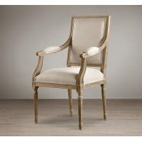 Wholesale Europe style fashion french upholstered armrest Fabric Dining Chair with wooden legs from china suppliers