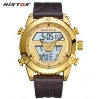 Buy cheap Wholesale 2018 New RISTOS Men Dual time Display Genuine Leather Band Chronograph Fashion Sport Watches 9368 from wholesalers
