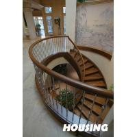 Wholesale Solid Wood Building Curved Staircase With Stainless Steel Baluster from china suppliers